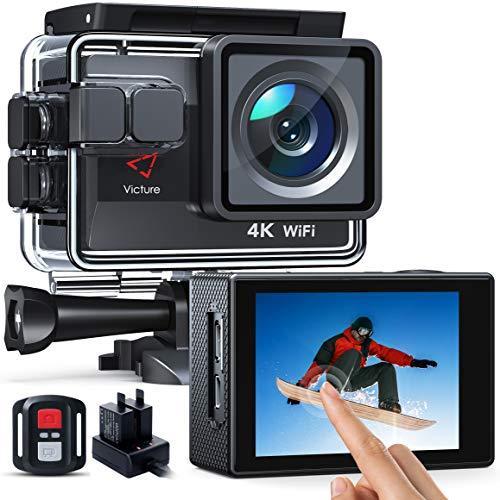 Victure AC820 Action cam Native 4K 50FPS EIS 4X Zoom 20MP WiFi Sportkamera 40M Unterwasser-wasserdichter Camcorder, zusätzliches Ladegerät mit Batterie, Fernbedienung und Montagezubehör