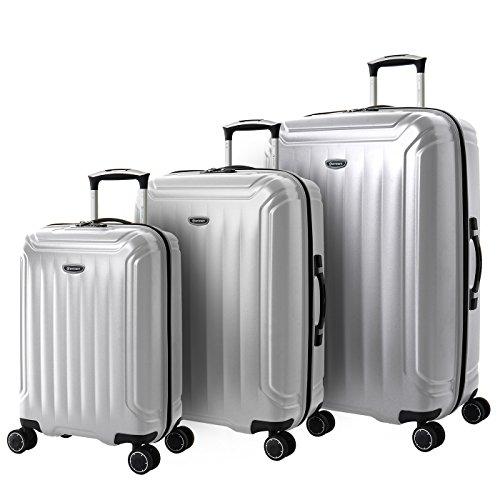 Eminent Koffer-Set Cove 3-teilig (Handgepäck + Koffer M&L) Hartschalenkoffer Leichtgewicht 4 Doppelrollen TSA Schloss Reisegepäck Silber