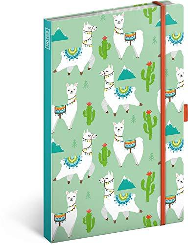 Notizbuch mit Gummiband liniert - Notizblock für Frauen und Mädchen - Tagebuch Journal Notebook für Schule und Arbeit (Lamas)