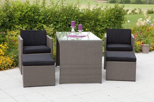 MERXX 11-tlg. Gartenmöbelset Merano, 2 Sessel, 2 Hocker, 1 Tisch 128x70 cm, Polyrattan, natur grau