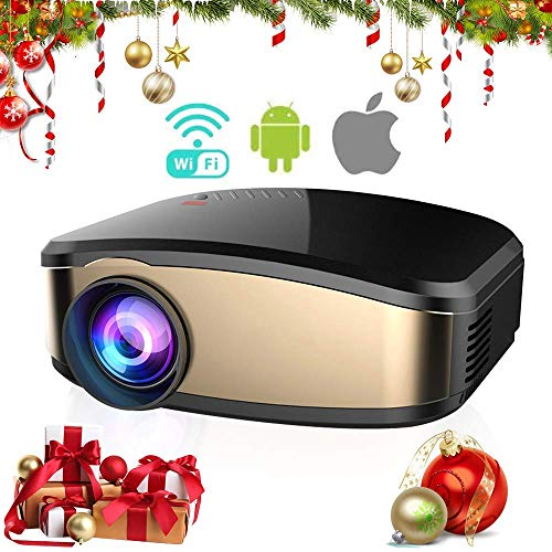 YUHT Beamer 1080P Videobeamer Mini Video Projektor unterstützt 1080P Full HD mit Display, Verbindung mit HDMI VGA SD USB AV Gerät, Heimkino Projektor