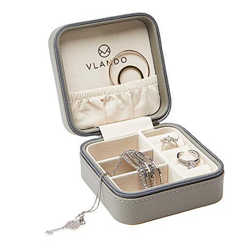 Vlando Mini Jewellery Box Organizer Kunstleder für Reisen, Aufbewahrungskoffer für Ringe, Ohrring, Halsketten Geschenk für Mädchen Mutter Frauen (grau)