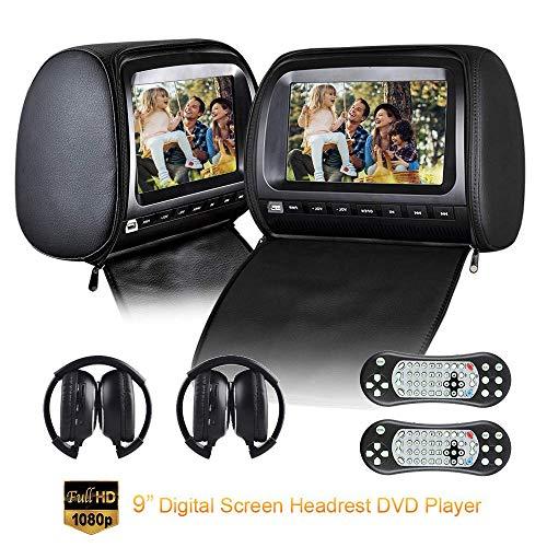 Roboraty Autokopfstütze Video Player Mit 9 Zoll DVD Monitor, Dual Region Free DVD Player Für Auto-Support USB SD IR FM Sender, AV EIN/Ausgang, 2 Stück IR Kopfhörer,Black