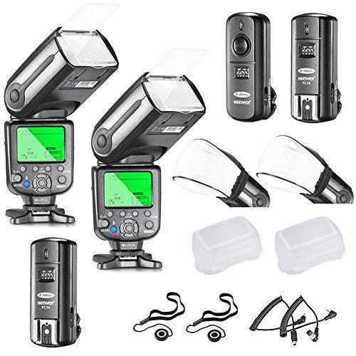 Neewer Profi i-TTL-Kamera Slave Flash Blitz Blitzgerät Set für NIKON D7100 D7000 D5300 D5200 D5100 D5000 D3200 D3100 D3300 D90 D800 D700 D300 D610 D300S, D3S D3X Inklusive D3 D4 D600 D200 DSLR Kamera,das Set beinhaltet: 2 Neewer Auto-Fokus Blitz + 2.4Ghz Wireless Trigger (1 Sender, 2 Empfänger) + N1 Kabel und N3 Kabel + 2 Hart & Weich Blitz-Diffusoren + 2 Objektivdeckelhalter