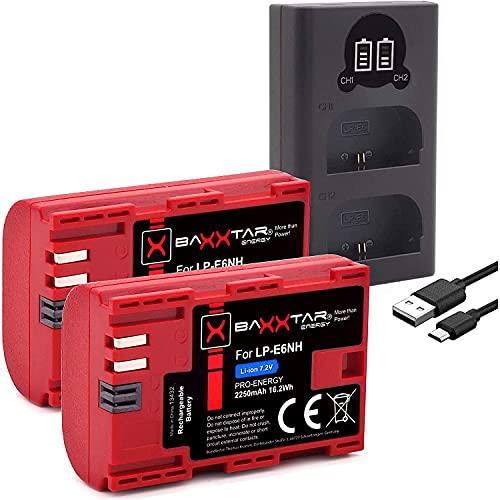 Baxxtar (2X) Pro LP-E6NH (2250mAh) kompatibel mit Canon R5 R6 usw. - Mini 18606 LCD DUAL (Eingang USB-C und MicroUSB)