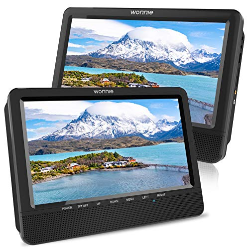 WONNIE 10,5' Tragbare Auto 2 Monitore DVD Player 4 Stunden Kopfstütze Monitor Fernseher 1024 * 600 Bildschirme, Unterstützung USB/SD/AV IN&Out (1Host +1 Slave)