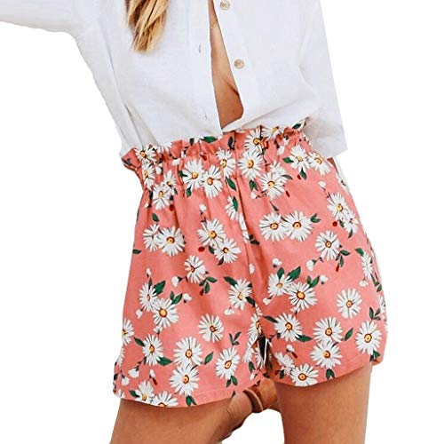 Andouy Damen Elastischem Taillenband Shorts mit Paperbag Hoch Taille Sommer Lounge Shorts Hotpants(2XL.Rosa)