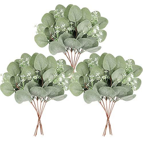 Homcomodar Künstliche Pflanzen Eukalyptus Deko 12Pc Simulation Grüner Eucalyptus Hinterlässt Zweige Silberdollar Eukalyptus Pflanze Bulk für Hochzeit, Garten, Haus, Büro, Indoor Outdoor Dekoration