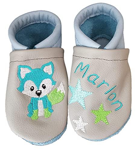 Krabbelschuhe aus Leder mit Namen Name Fuchs Sterne Baby Kindergarten personalisiert Junge oder Mädchen
