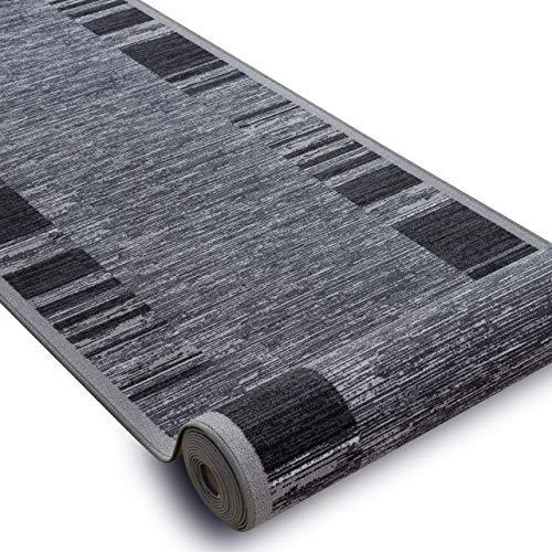 Modernen Preiswert Antirutsch Läufer Adagio grau, Anti Rutsch Teppich rutschfest Brücke Meterware Rahmen für Küche Wohnzimmer, dauerhaft, 120x40 cm