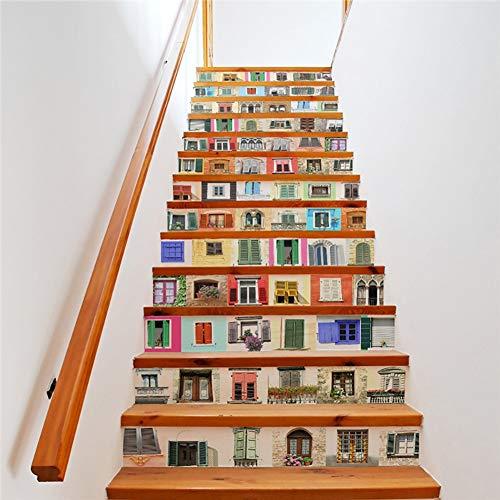YUEER Fenster Muster Kunst Ölgemälde Selbstklebende 3D Treppe Aufkleber Wandmalereien Treppe Riser Aufkleber Für Hauptdekoration