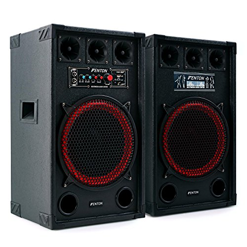 Fenton SPB-12 - PA Lautsprecher, Aktivboxen Set, 800 Watt max, 30 cm (12')-Subwoofer, Bluetooth, USB-Port, SD-Slot, 2 x 6,3 mm-Klinke-Mic-In, Cinch-Line-In, schwarz