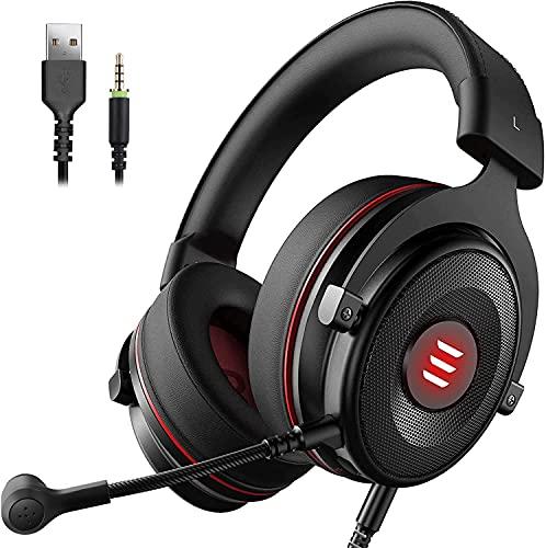 EKSA E900 Pro USB Gaming Headset für PC - PS4 Headphones mit Noise Cancelling Mic, 7.1 Surround Sound - 3.5 mm Gamer Kopfhörer mit Mikrofon für Xbox, PS4, PS5, Laptop, Switch, Mac, Handy (Schwarz)