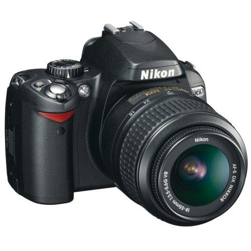 Nikon D60 SLR-Digitalkamera (10 Megapixel) Kit inkl. 18-55mm 1:3,5-5,6G VR Objektiv (bildstab.)