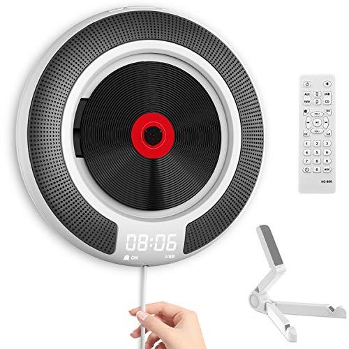 Tragbarer CD Player mit Bluetooth - Wandmontierbarer CD-Musik-Player Home Audio Boombox mit Fernbedienung FM-Radio Integrierte HiFi-Lautsprecher, MP3-Kopfhöreranschluss AUX-Eingang