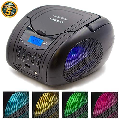 LAUSON Tragbarer CD Player | MP3-CD Player | CD-Radio mit USB für Kinder | Boombox LED-Discolichter | UKW Radiotuner | CD-Player mit Kopfhörern | Netz & Batterie (Schwarz)