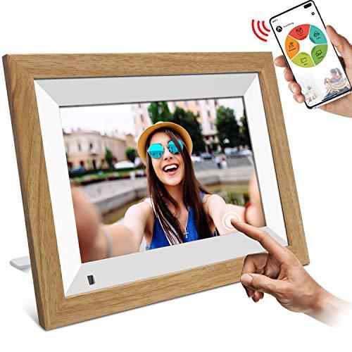 WiFi Digitaler Bilderrahmen, YENOCK 10.1'Touchscreen mit Bewegungssensor 1280 * 800 Eingebauter 16-GB-Speicher Porträt und Landschaft Foto- und Video Über App/Facebook/Twitter/E-Mail