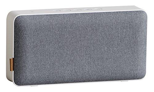 SACKit – MOVEit Lautsprecher WiFi & Bluetooth – Kompakter Bluetooth-Lautsprecher im dänischen Design – WLAN-Lautsprecher geeignet für Smartphone, Tablet oder PC – weiß und grau