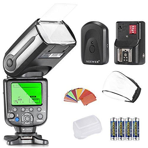 Neewer NW-565 EXC E-TTL Slave SpeedliteSet für Canon 5D II 7D, 30D, 40D, 50D, EOS 300D 350D 400D 1000D 500D 550D 600D 700D 100D 1100D / Rebel Rebel XT Xti XS T1i T2i T3i T5i SL1 T3 und alle anderen Canon Modelle, enthält (1) NW-565C-Blitz + (1) Universal-Mini Blitz Bounce Diffuser Kappe + (1) 35-teilige Farbgel Filter + (1) 16 Kanäle Funk Fern Blitzauslöser + (4) LR Batterie