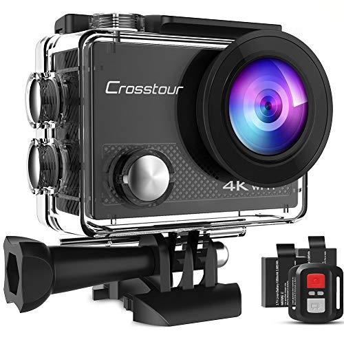 Crosstour Action Cam 4K 20MP WIFI Camera Ultra HD Unterwasser Kamera Helmkamera Wasserdicht mit 2.4G Fernbedienung 2 Akkus und Montage Zubehör Kit