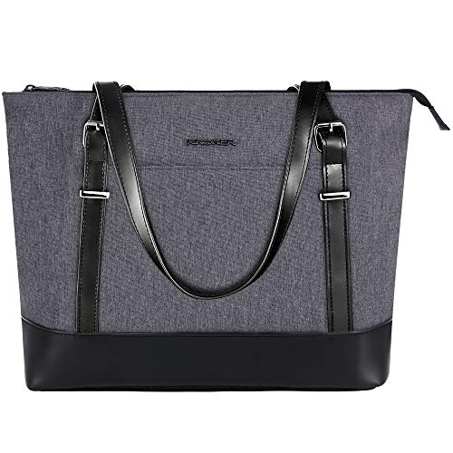 KROSER Laptop Damen Handtasche Schwarz Handtaschen Elegant Taschen Frauen Handtaschen 15,6 Zoll Große Leichte Nylon Stilvolle Handtasche mit USB-Ladeanschluss für Business/Schule/Reisen-MEHRWEG