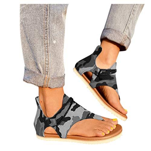Sandalen/Dorical Damen Sommer Flip Flops Flat Toe Separatoren, Neue rutschfeste Flach Sandalen,Mode Bequeme Bohemia Sandalen,Beach Travel Zehentrenner Sandal Sandalen für Damen Größe 35-43 EU
