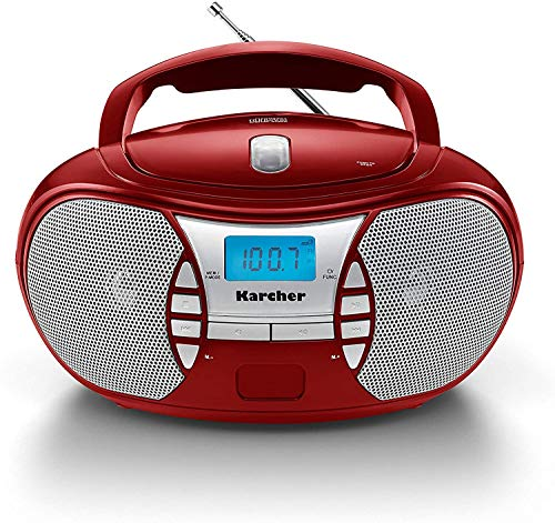 Karcher RR 5025-R tragbares CD Radio (CD-Player, Boomboxen, UKW Radio, Batterie/Netzbetrieb, AUX-In) rot