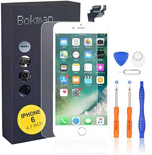 bokman Vormontiertes Display Reparaturset kompatibel mit Weiß iPhone 6, Inklusive FaceTime-Kamera, Home Button, Mikrofon, Lautsprecher und Näherungssensor, Passendes Profi-Werkzeugset enthalten