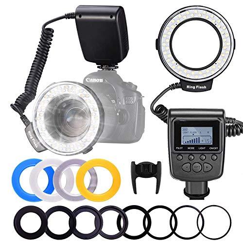 LED Ringfülllicht Ringblitz 48 Makro LED Ringblitzleuchte Set für Canon/Nikon/Panasonic/Olympus/Pentax SLR Kamera (Ringlichtring, Regler mit LCD Anzeige, 4*Farbtemperatur Abdeckung, 8*Adapter Ring)