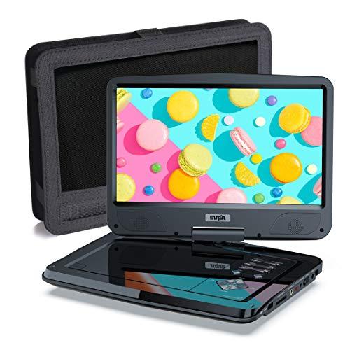 SUNPIN Tragbarer DVD Player mit 10,5 Zoll HD Schwenkbaren Bildschirm, Stereo-Lautsprecher&Dual-Kopfhörer-Buchse, Unterstützung Sync TV/USB/SD-Karte, Auto Kopfstütze Halterung, Schwarz