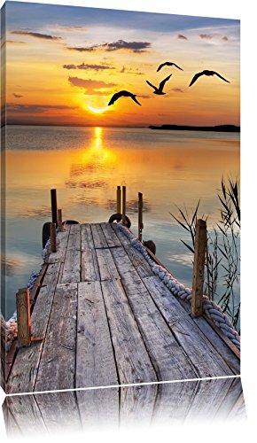Steg bei Sonnenuntergang Format: 60x40 auf Leinwand, XXL riesige Bilder fertig gerahmt mit Keilrahmen, Kunstdruck auf Wandbild mit Rahmen, günstiger als Gemälde oder Ölbild, kein Poster oder Plakat