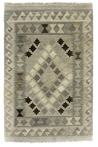 CarpetFine: Kelim Afghan Antique Teppich 77x120 Grau - Geometrisch