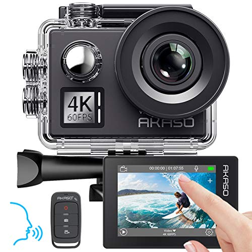 AKASO Action cam 4K/60fps /Action Kamera 20MP WiFi mit Touchscreen EIS 40M unterwasserkamera V50 Elite mit 8X Zoom Sprachsteuerung Fernbedienung Zubehör Kit Sportkamera