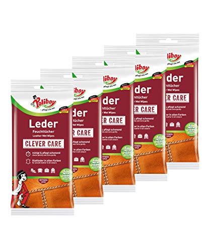 Poliboy - Leder Feuchttücher - perfekte Reinigung für Glatt- und Kunstleder - 5er Pack - 5x20 Tücher - Made in Germany