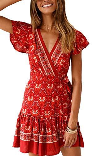 ECOWISH Damen Kleider Boho Vintage Sommerkleid V-Ausschnitt A-Linie Minikleid Swing Strandkleid mit Gürtel 045 Rot L