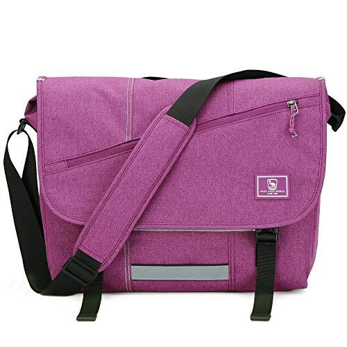 OIWAS Umhängetasche Damen Groß Violett Arbeitstasche Umhängetaschen Herren Tasche Kuriertasche Laptoptasche für 15 Zoll Laptop Uni Schule Büro Reise