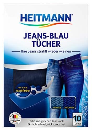 Heitmann Jeans Blau Tücher (10 Tücher, Blau): Färbetücher für alte Jeans im neuen Look, Farb-Erhalt in Jeansblau beim Waschen, Rückstandsfreie Pflege gegen Verblassungen