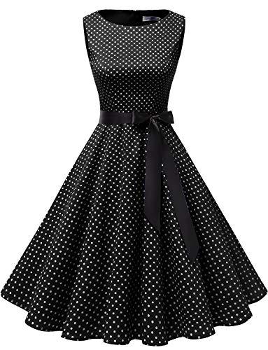 Gardenwed Damen 1950er Vintage Cocktailkleid Rockabilly Retro Schwingen Kleid Faltenrock Black Small White Dot M