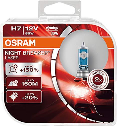 OSRAM NIGHT BREAKER LASER H7, +150% mehr Helligkeit, Halogen-Scheinwerferlampe, 64210NL-HCB, 12V PKW, Duo Box (2 Lampen)