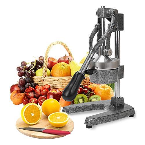 DAWOO Professioneller Zitrus-Entsafter - Manuelle Zitruspresse und Orangenpresse - Metall-Zitronenpresse - Hochwertiger manueller Orangensaft- und Limettenpresse (Grau)