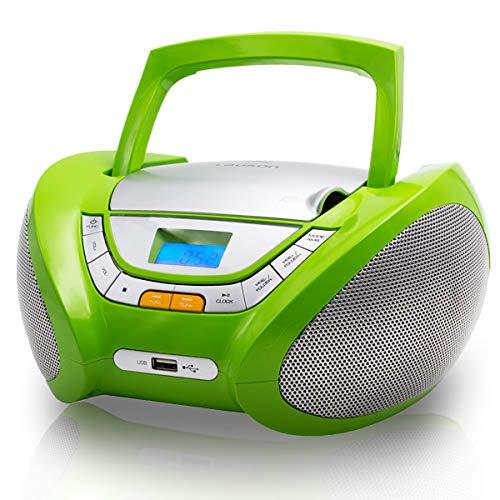 LAUSON CP444 CD Player für Kinder mit Radio | MP3 Player | Stereoanlage | Boombox | CD-Radio | USB Kopfhöreranschluss | AUX IN | CD-Radio | Radio Cd Spieler (Grün)