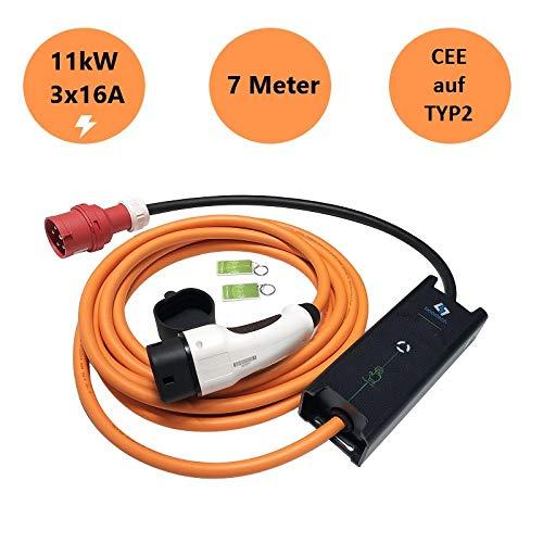 Tragbare Mobile Wallbox EVSE Ladegreät Ladestation | 11KW | 16A | 3 Phasig | CEE 5 Pin zu Typ 2| 7 Meter + Tragetasche