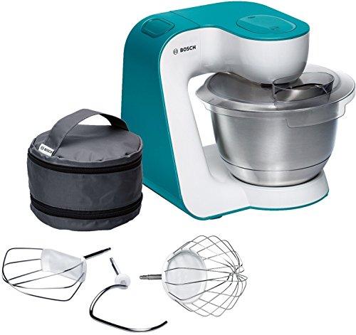 Bosch Küchenmaschine MUM5 Startline MUM54D00, Edelstahl-Schüssel 3,9 L, Planetenrührwerk, Knethaken, Schlagbesen, Rührbesen Edelstahl, 7 Arbeitsstufen, 900 W, weiß/blau