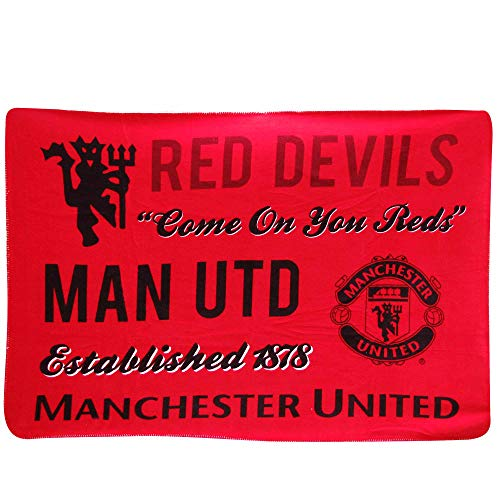 Red Devils Offizielle Manchester United Sherpa Decke (Polyester-Fleece, 125 x 175 cm)