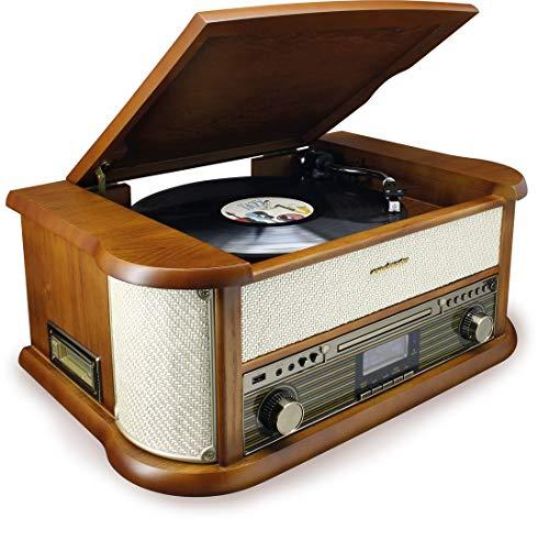 Soundmaster NR546BE Nostalgie Stereo DAB+/UKW Digitalradio mit Plattenspieler inkl Audio Technica Magnettonabnehmersystem, CD/MP3, USB, Kassette, Bluetooth und Encoding Retro