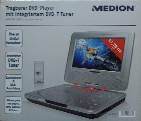 Medion P72020 (MD 83818) Tragbarer DVD-Player mit integriertem DVB-T Tuner silber