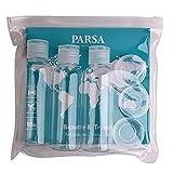 Reiseflaschenset mit transparenter Reise-Tasche mit 6 PET-Behältern und Spatel fürs Flug-Handgepäck von PARSA