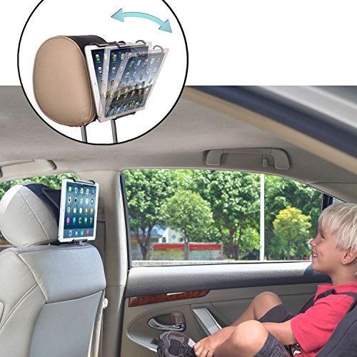 TFY Universal-Kopfstützen-Halterung für Tablet-PCs mit Winkel, verstellbare Halteklammer für Tablets wie iPad 2/3/4, iPad Mini, iPad Air, iPad Pro, Samsung Galaxy Tab S2, Tab A und mehr