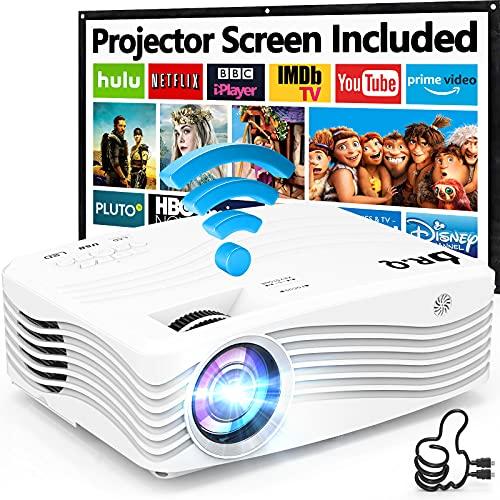 DR. Q Native 1080P 5G WiFi Beamer 8500 Lumens, [mit 120″ Beamer-Leinwand], 1080P Full HD Heimkino Beamer Unterstützt Bildschirm Synchronisierung, Kompatibel mit TV-Stick HDMI, für Heimkino & Büro.