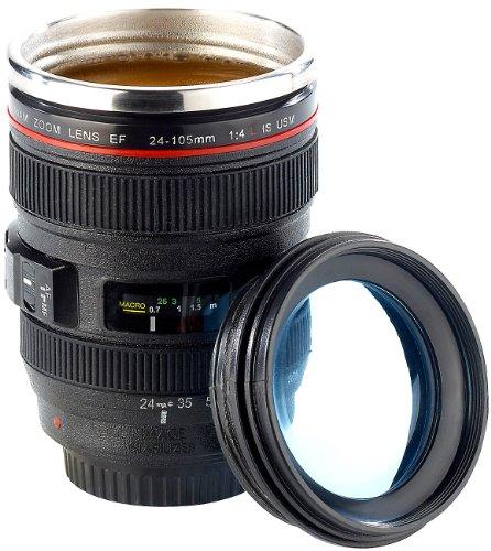 Somikon Objektivbecher: Kameraobjektiv-Becher, doppelwandig, innen Edelstahl, 300 ml (Objektiv Tasse)